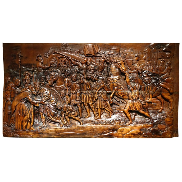 17th Century Wood Panel Sculpture Carved in Low Relief, Italy or France For Sale
