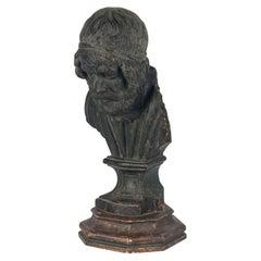 17th Century Wooden Bust of the Greek Poet Homerus