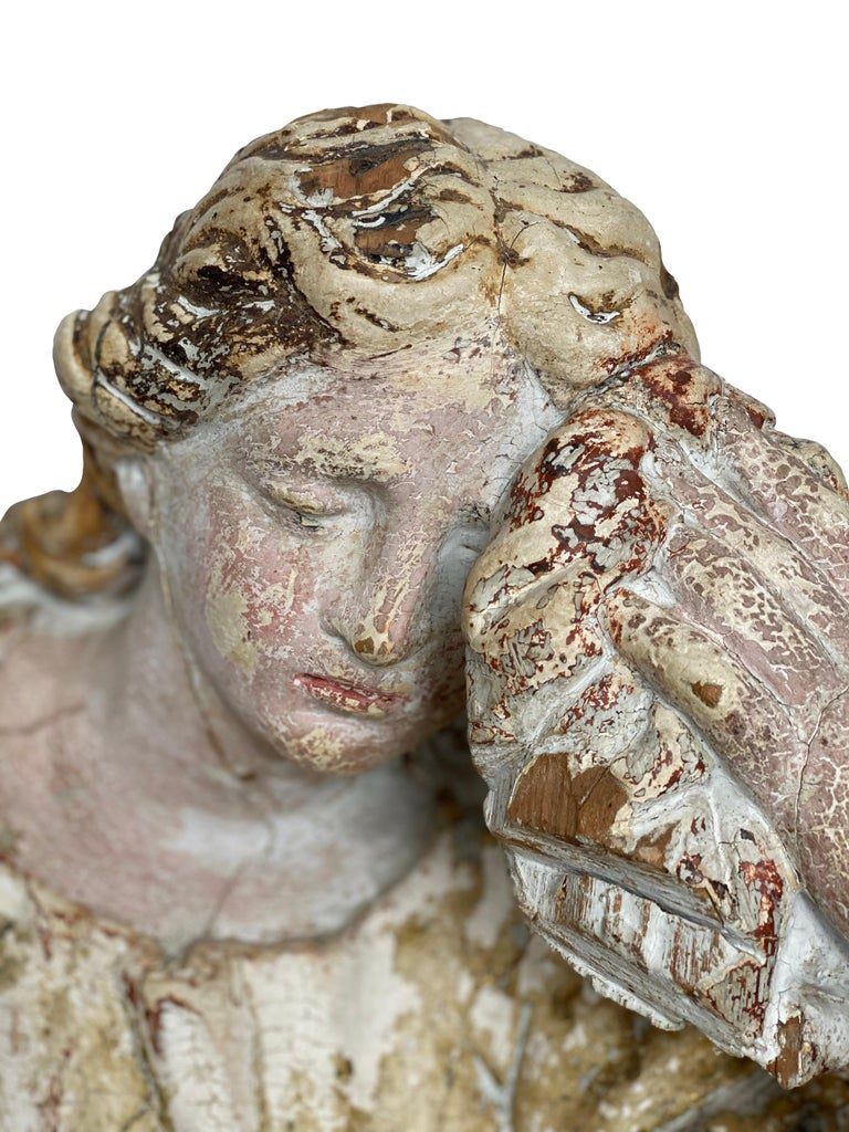 17th century French polychrome statue of Mary Magdalene in mourning. Faint gilt throughout.