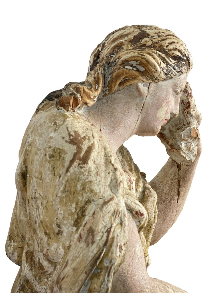 Hand-Carved 17th Century Wooden French Polychrome Statue of Mary Magdalene For Sale