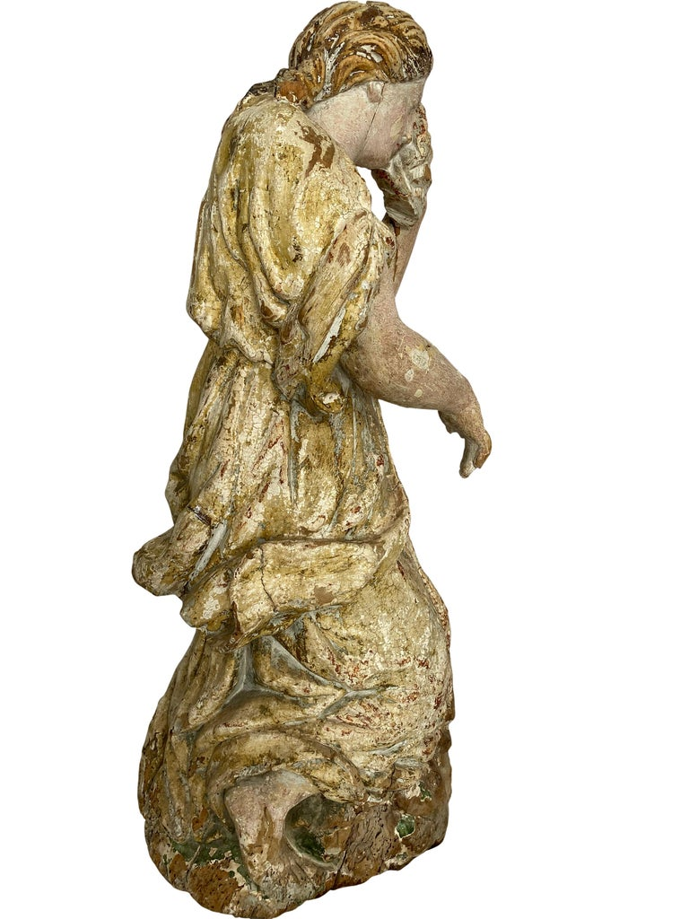 18th Century and Earlier 17th Century Wooden French Polychrome Statue of Mary Magdalene For Sale
