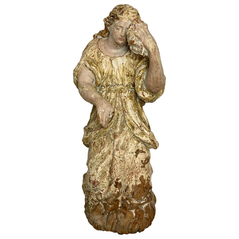 17th Century Wooden French Polychrome Statue of Mary Magdalene For Sale