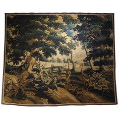 17th Century Wool and Silk Verdure Bleue Tapestry