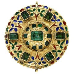 17th-Early 18th Century Spanish Colonial Gold Enameled Adornment with Emeralds