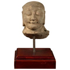 17th or 18 Century Burmese Hand Carved Stone Head of a Man Mounted on Base
