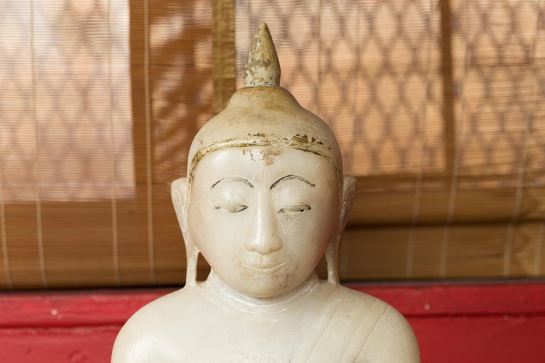 Carved 17th or 18th Century Burmese Shan Style Alabaster Sculpture of a Seated Buddha For Sale