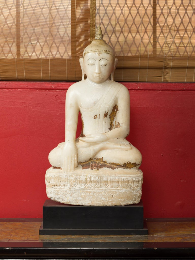 17th or 18th Century Burmese Shan Style Alabaster Sculpture of a Seated Buddha For Sale 2