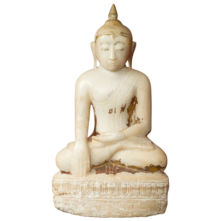 17th or 18th Century Burmese Shan Style Alabaster Sculpture of a Seated Buddha For Sale