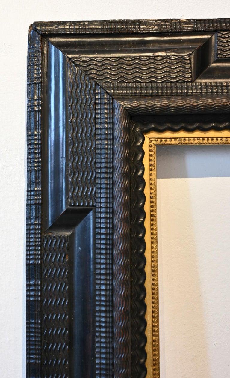 Dutch 17th Picture Frame, Flame Strip Frame Netherlands Around 1650 Old Master Frame For Sale