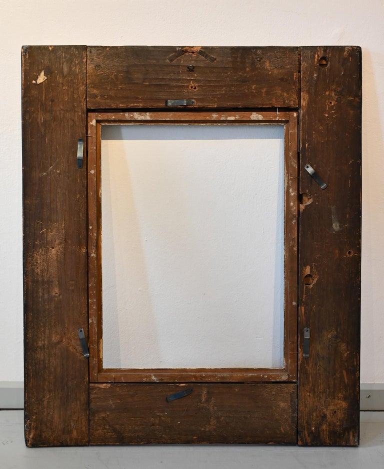 Carved 17th Picture Frame, Flame Strip Frame Netherlands Around 1650 Old Master Frame For Sale
