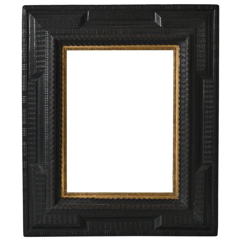 17th Picture Frame, Flame Strip Frame Netherlands Around 1650 Old Master Frame For Sale