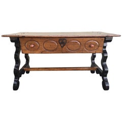 17th Spanish Refectory Table, Writing Desk, One Large Drawer