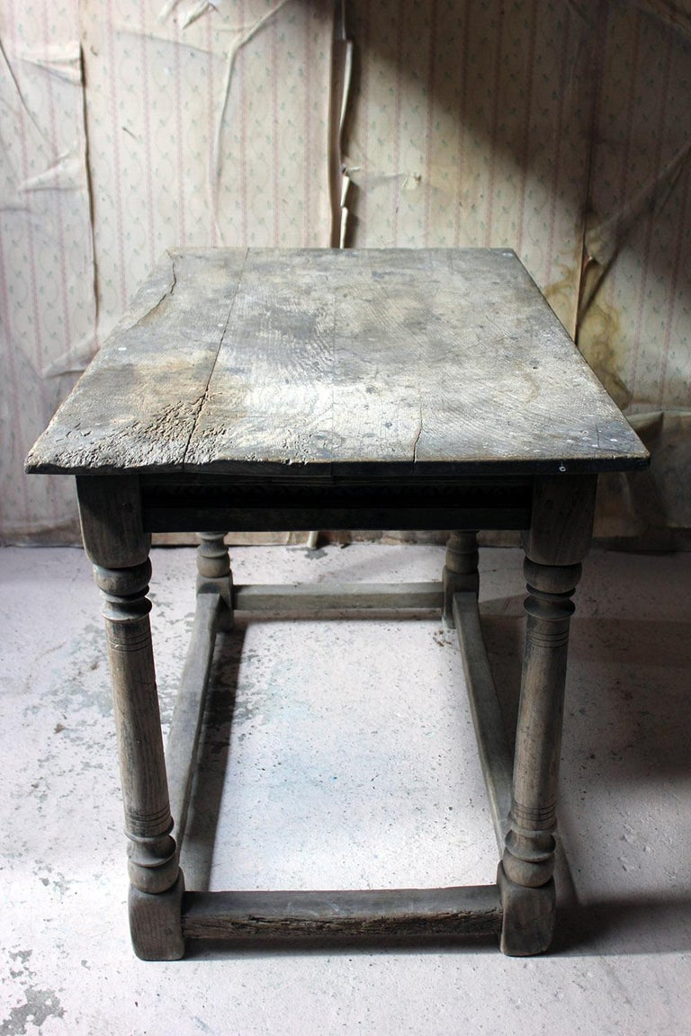 17th Century Dry Oak Charles II Period Side Table, circa 1680 For Sale 5
