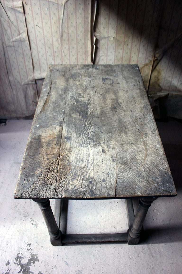 17th Century Dry Oak Charles II Period Side Table, circa 1680 For Sale 6