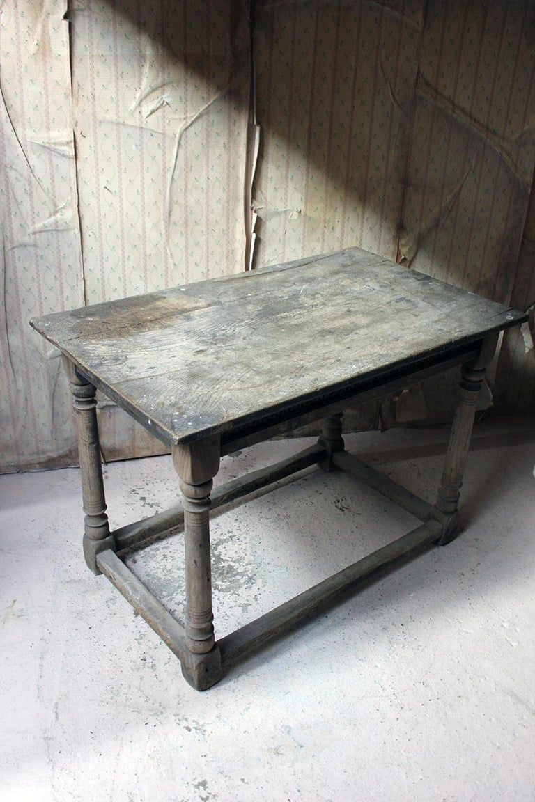 17th Century Dry Oak Charles II Period Side Table, circa 1680 For Sale 7