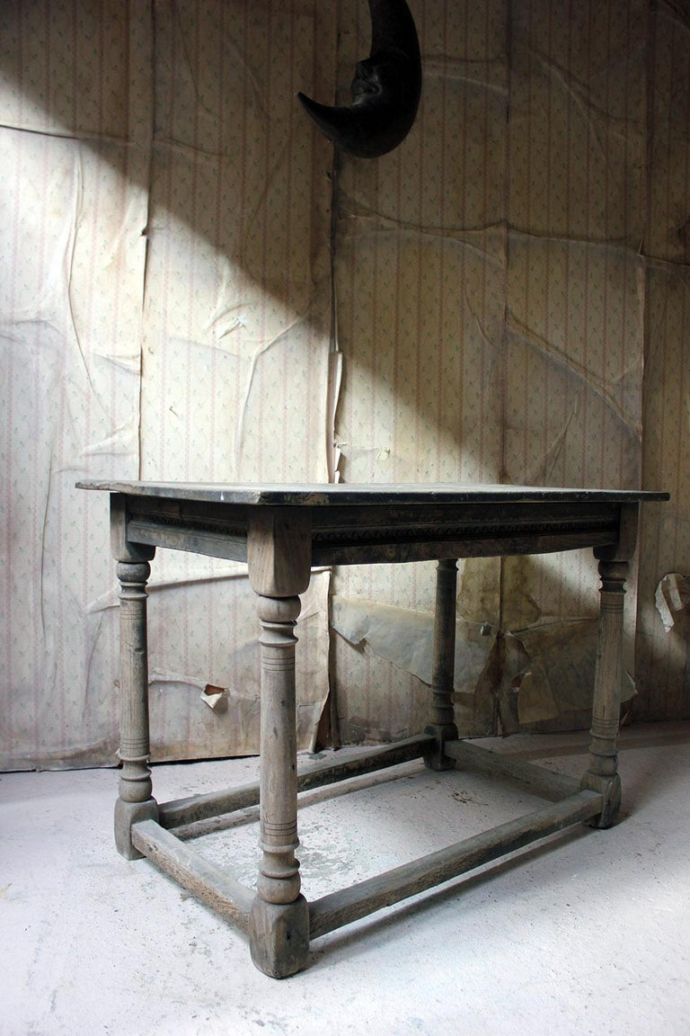 17th Century Dry Oak Charles II Period Side Table, circa 1680 For Sale 8
