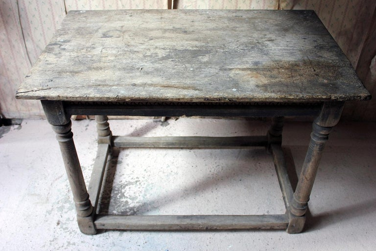 17th Century Dry Oak Charles II Period Side Table, circa 1680 For Sale 9