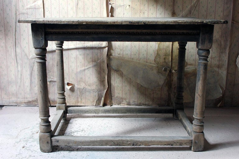 17th Century Dry Oak Charles II Period Side Table, circa 1680 For Sale 10