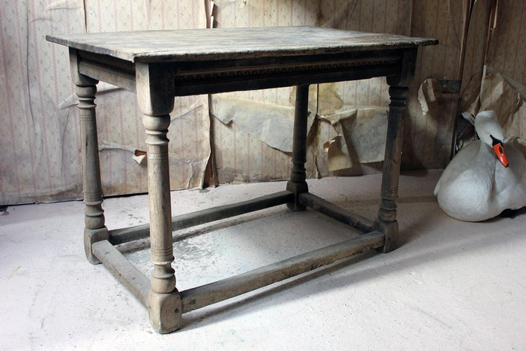 17th Century Dry Oak Charles II Period Side Table, circa 1680 For Sale 11