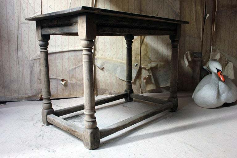 17th Century Dry Oak Charles II Period Side Table, circa 1680 For Sale 13