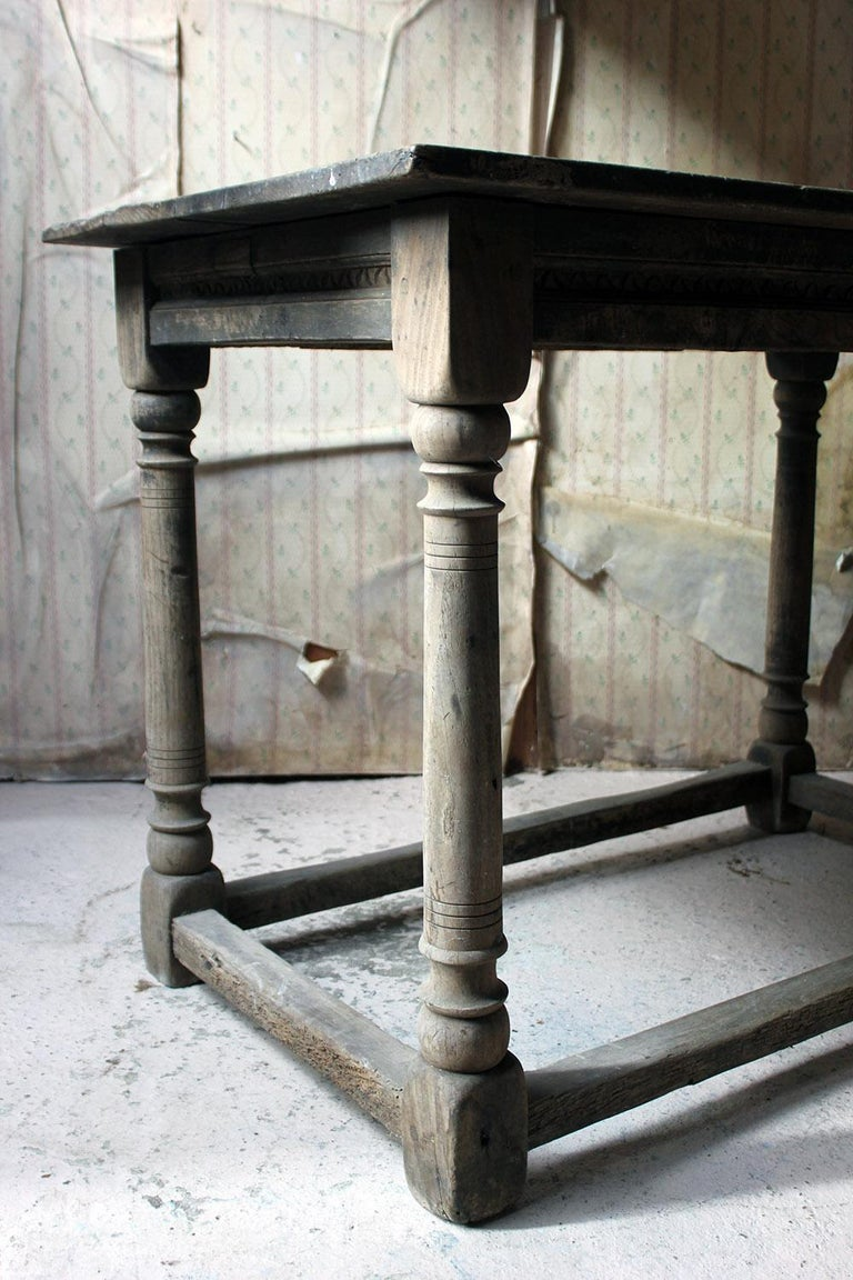 18th Century and Earlier 17th Century Dry Oak Charles II Period Side Table, circa 1680 For Sale