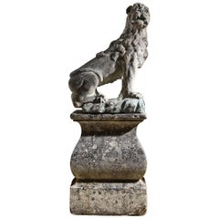 17th Century French Stone Lion placed on an 18th Century Stone Base