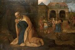 Huge 17th Century Italian Old Master Oil on Wood Panel Kneeling Saint & Figures