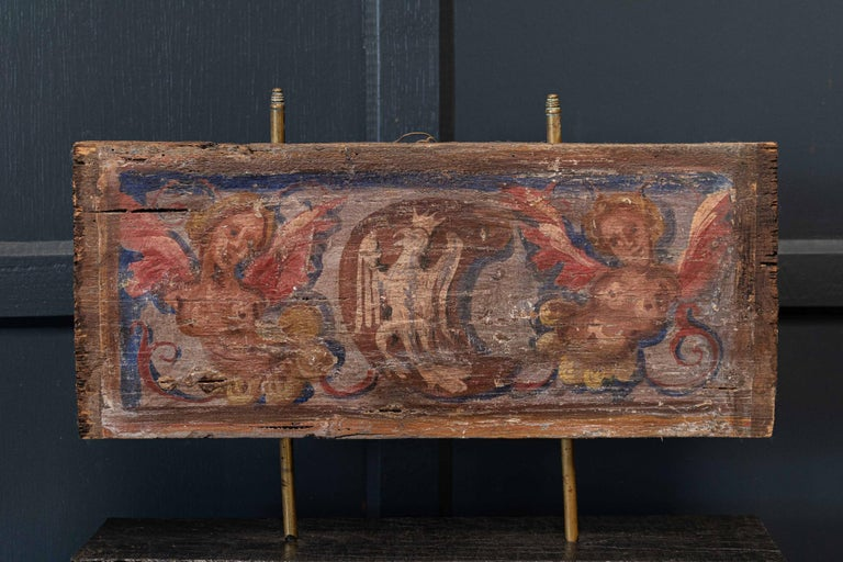 British 17thc Polychrome Painted Ceiling Panel For Sale