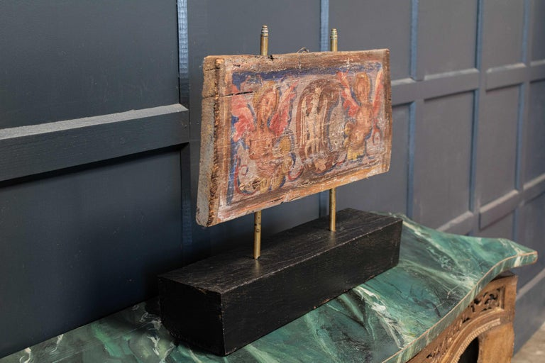 Hand-Painted 17thc Polychrome Painted Ceiling Panel For Sale