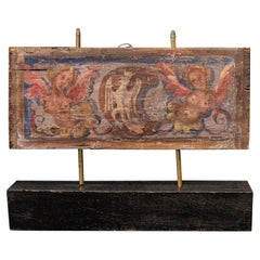 17thc Polychrome Painted Ceiling Panel