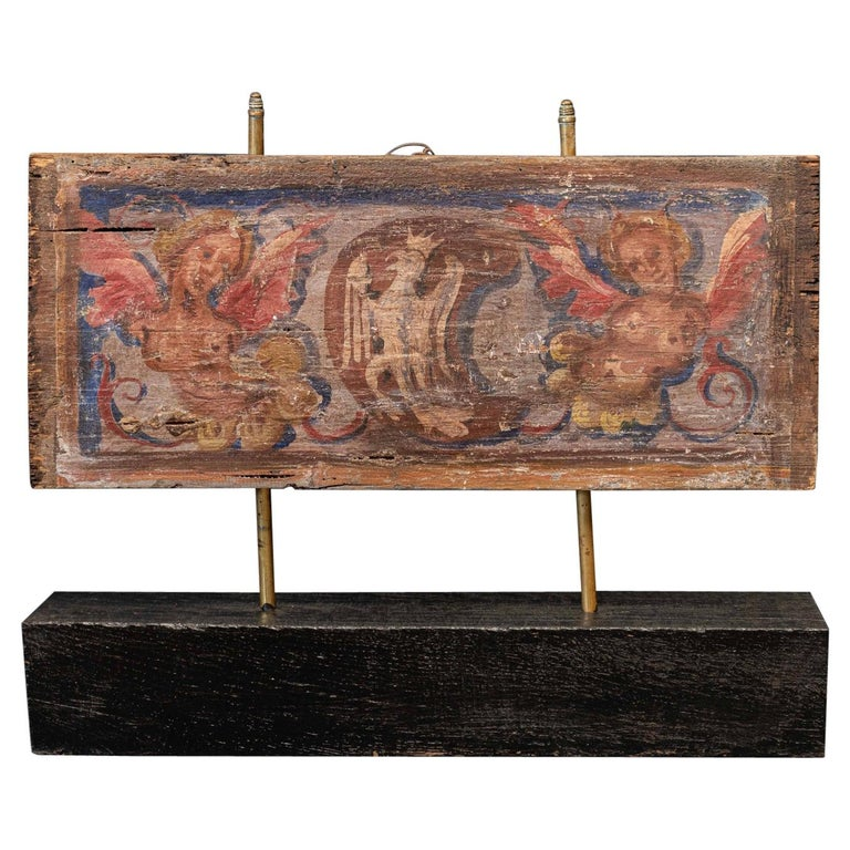 17thc Polychrome Painted Ceiling Panel For Sale