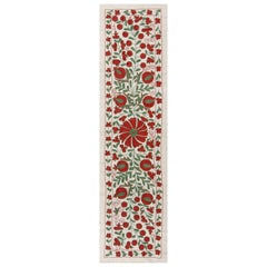 1.7x6.2 Ft Central Asian Suzani Textile, Embroidered Cotton & Silk Wall Hanging