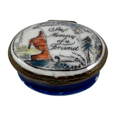 18-C English Bilston Battersea Enamel Memento Mori, Memory of a Friend Snuff Box