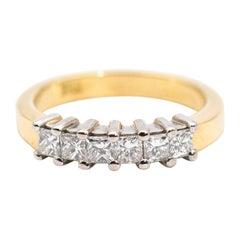 18 Carat 0.54 Carat Princess Cut Diamond Vintage Eternity Ring
