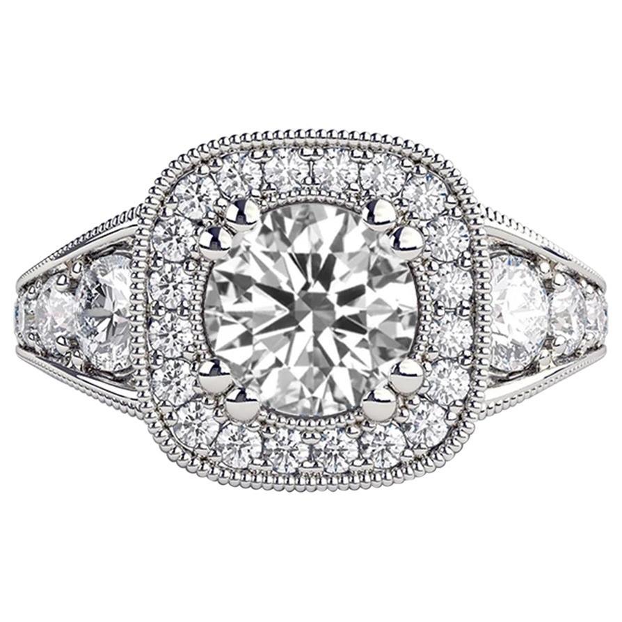 1.8 Carat 14 Karat White Gold Round Diamond Engagement Ring, Vintage Style Ring