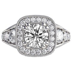 1.8 Carat 14 Karat White Gold Round Diamond Engagement Ring, Vintage Style Ring