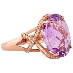 18 Carat Amethyst Ring in 10 Karat Rose Gold with Diamonds