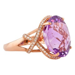 18 Carat Amethyst Ring in 14 Karat Rose Gold with Diamonds