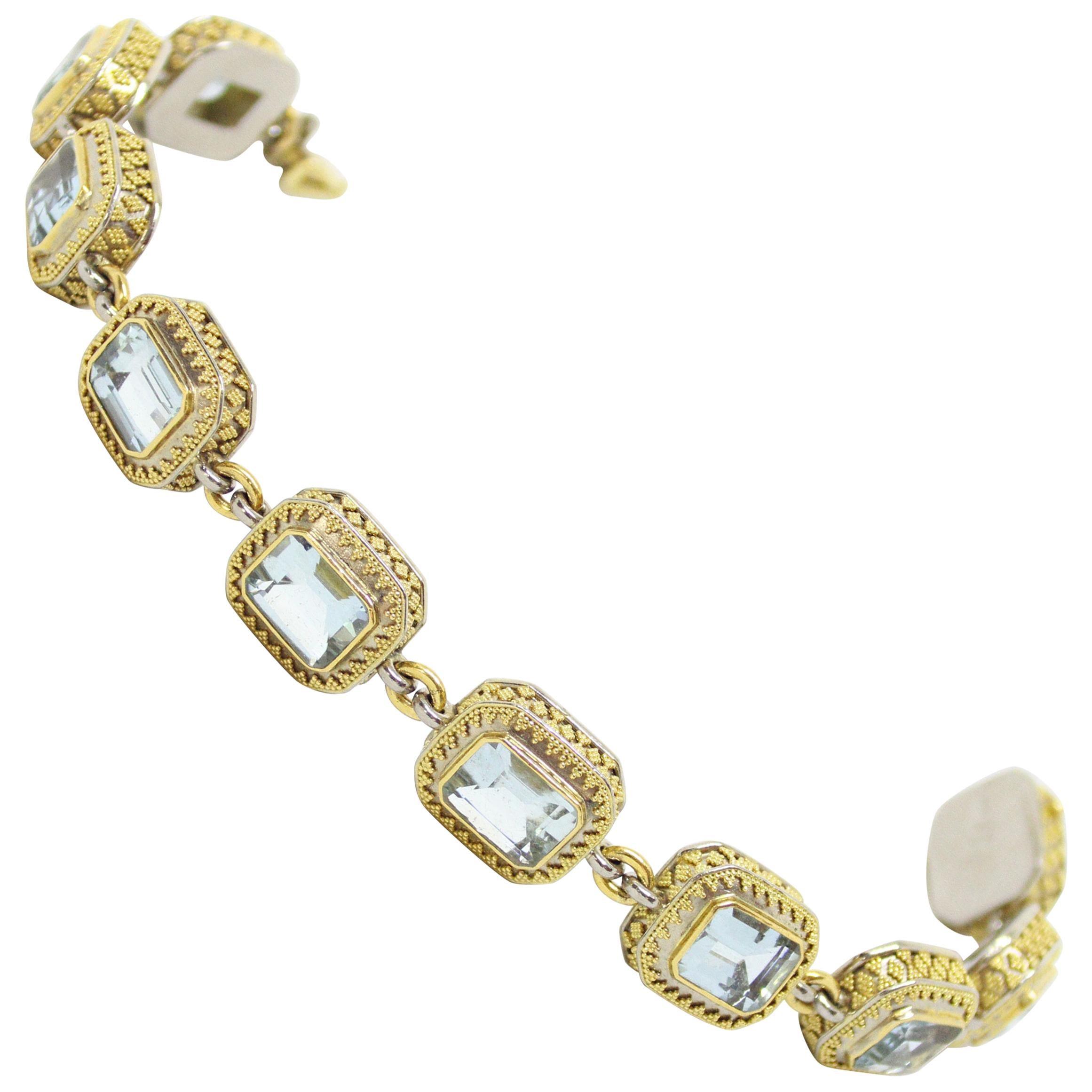 18 Carat and 22 Carat Gold Aquamarine Bracelet