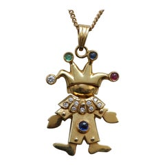 18 Carat and Gemstone Clown Pendant on Chain