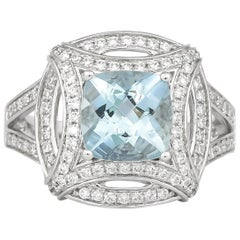 1.8 Carat Aquamarine and Diamond Ring in 18 Karat White Gold