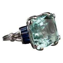 18 Carat Aquamarine and Sapphires French Art Deco Ring