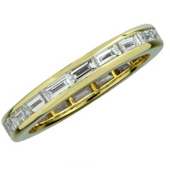 1.8 Carat Baguette Cut Diamond 18 Karat Yellow Gold Eternity Band