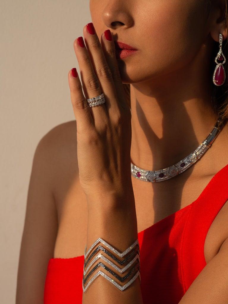 Women's 18 Carat Black and White Diamond Chevron Cuff in 18 Karat White Gold For Sale