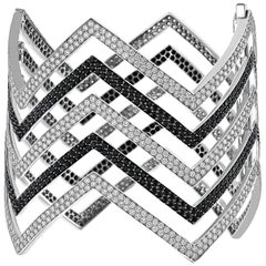 18 Carat Black and White Diamond Chevron Cuff in 18 Karat White Gold