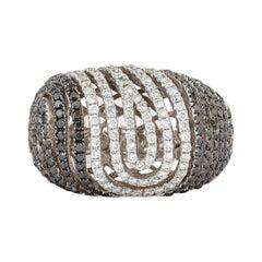 1.8 Carat Black & White Diamond Ring in 14 Karat White Gold