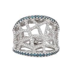 1.8 Carat Blue & White Diamond Ring in 14 Karat White Gold
