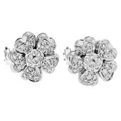 18 Carat Diamond Flower/Cluster Stud Earring 18 Karat White Gold