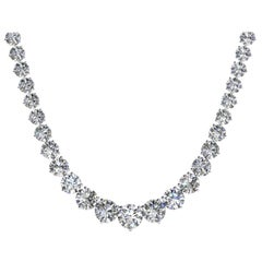 18 Carat Diamond Riviera Three Claws 18 Karat White Gold Tennis Line Necklace