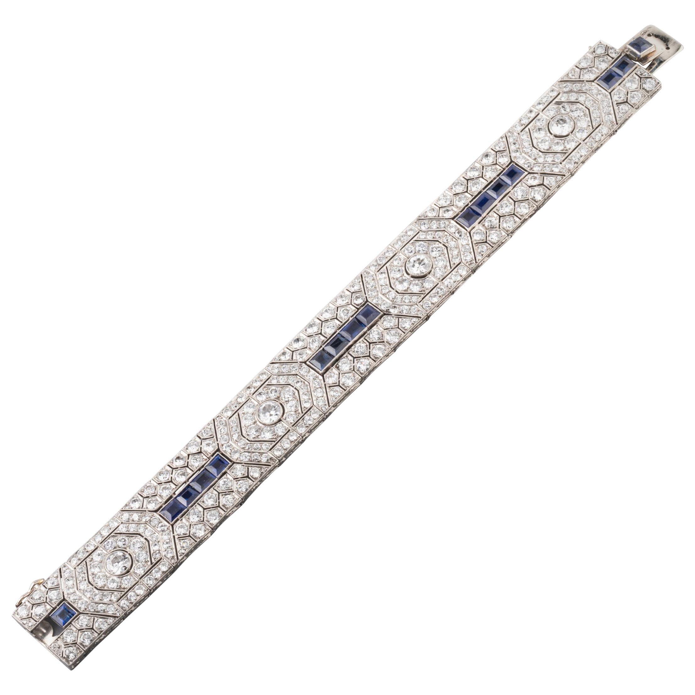 18 Carat Diamonds and 5 Carat Sapphires French Art Deco Bracelet